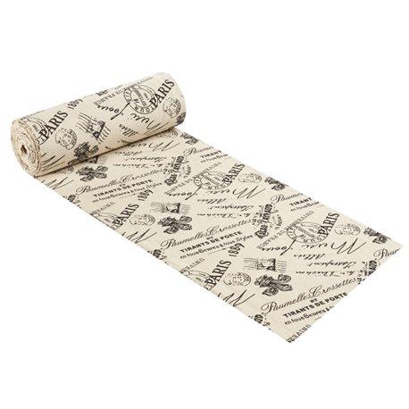 Tissu décoratif lin motifs timbres vintage 3 mètres