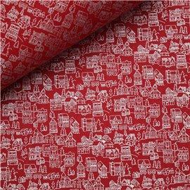 Papier à motifs city rouge motifs argent