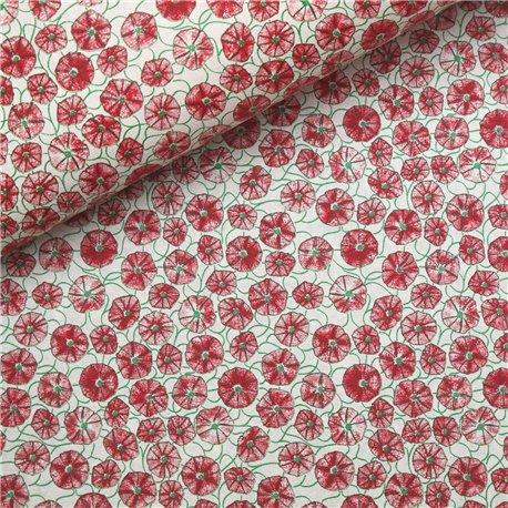 Papier à motifs poppy blanc motifs rouge