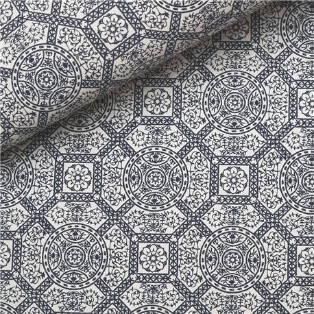 Papier à motifs diva blanc motifs marine