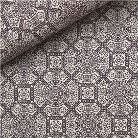 Papier à motifs diva blanc motifs prune