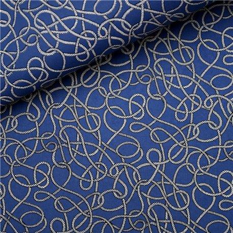 Papier à motifs fond bleu cordage blanc