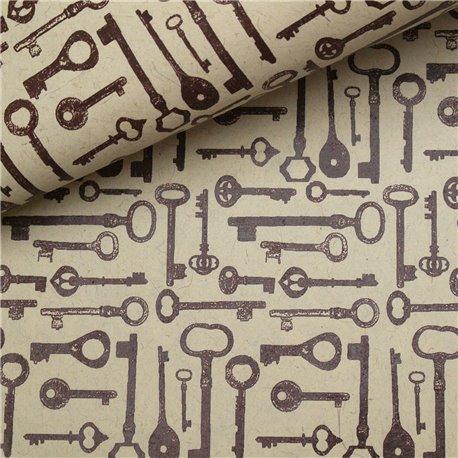 Papier fantaisie clés old style keys ivoire et marron