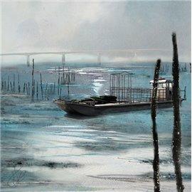 """Carte d'art Valie Le Boeuf La pêche """"Oléron"""" 14x14 cm"""