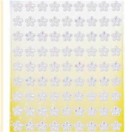 Stickers adhésifs fleurs blanches irisées 81p