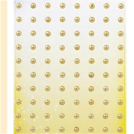Stickers adhésifs demi perles doré 80p