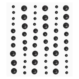 Stickers adhésifs demi perles noir 60p