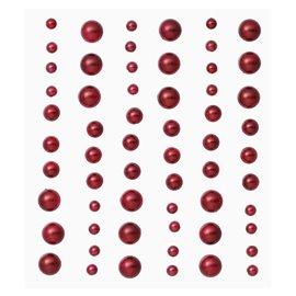 Stickers adhésifs demi perles rouge 60p