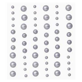 Stickers adhésifs demi perles argent 60p