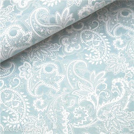 Papier népalais lokta paisley arabesque bleu et blanc
