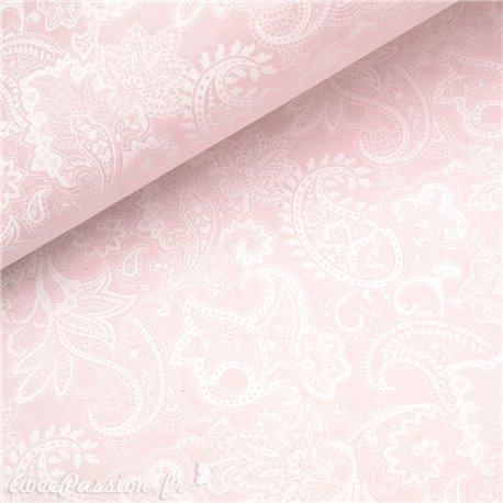 Papier népalais lokta paisley arabesque rose bébé et blanc