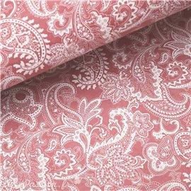 Papier népalais lokta paisley arabesque vieux rose et blanc