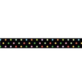 Masking tape fond noir pois multicolores papier adhésif washi