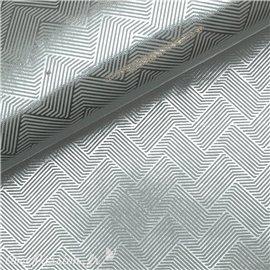 Papier indien halucination zigzag argent sur blanc