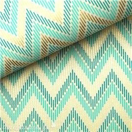 Papier indien zigzag vert et doré