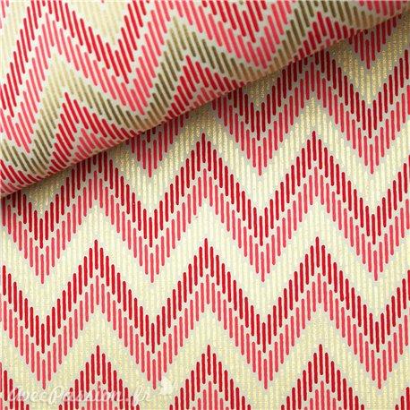 Papier indien zigzag rouge rose et doré