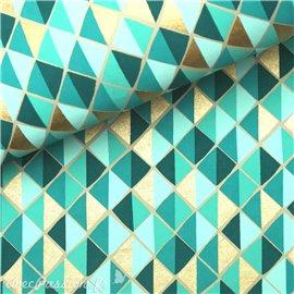 Papier indien mosaïque vert et doré