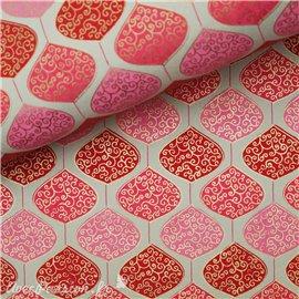 Papier indien pendule doré sur rouge et rose