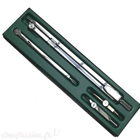Boite compas à lavis Kern rallonge tire ligne en croix sans balustre 19cm