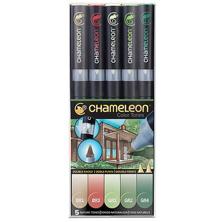 Chameleon feutres couleurs tons nature 5 feutres CT0514