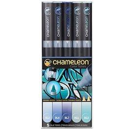 Chameleon feutres couleurs tons bleu 5 feutres CT0513