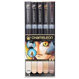 Chameleon feutres couleurs tons peau 5 feutres CT0510