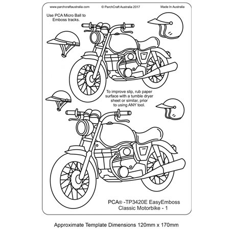 Gabarit tracage parchemin Template PCA moto n°1