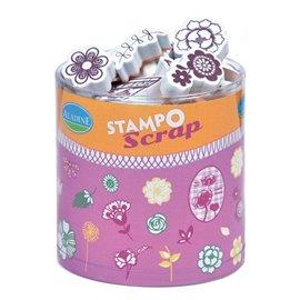Tampon caoutchouc fleurs Aladine stampo scrap 34p