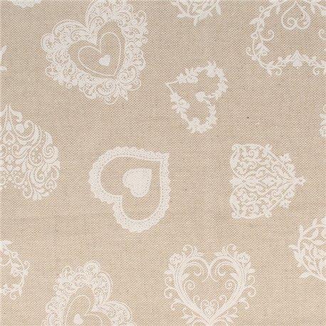 Tissu coton lin coeurs blanc 30x90cm