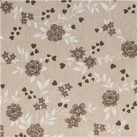 Tissu coton lin fleurs blanc et noir 30x90cm