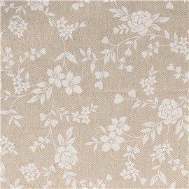 Tissu coton lin fleurs blanc 30x90cm