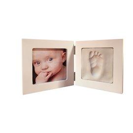 Cadre photo + moulage empreinte bébé en bois peint blanc 12.5x12.5