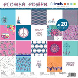 Papier scrapbooking assortiment flower power 2x20fe