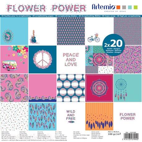 Papier scrapbooking assortiment flower power 2x20fe