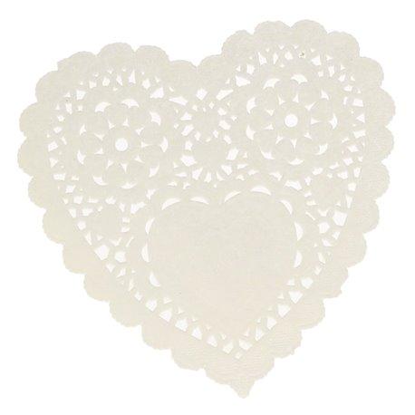Napperon papier dentelle découpée coeur blanc rose rouge 60p