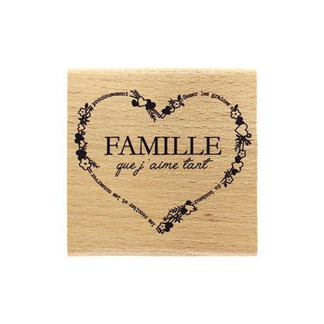 Tampon bois coeur famille que j'aime