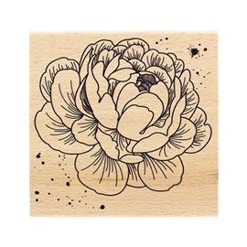 Tampon bois fleurs pivoine