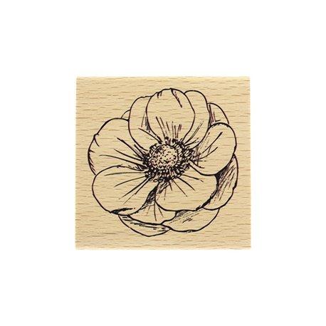 Tampon bois fleur esquissée