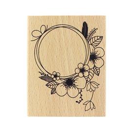 Tampon bois fleurs jolie couronne