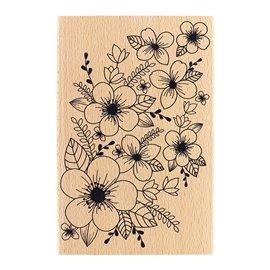 Tampon bois fond floral