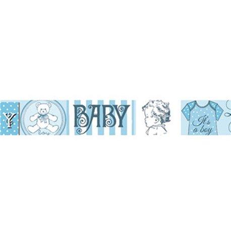 Masking tape bébé fond bleu et blanc papier adhésif washi