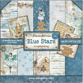 Papier scrapbooking assortiment blue stars 10f recto verso