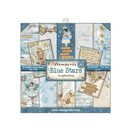 Papier scrapbooking assortiment blue stars 20f recto verso