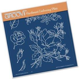 Gabarit tracage du parchemin fleurs rose Groovi