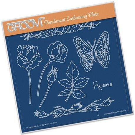 Gabarit tracage du parchemin fleurs rose et papillon Groovi