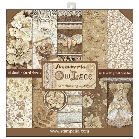 Papier scrapbooking assortiment dentelle 10f recto verso