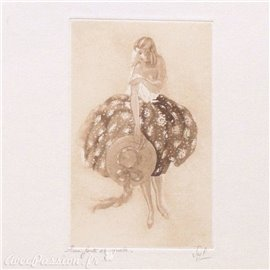 Gravure pointe sèche femme 1900 robe fleurie