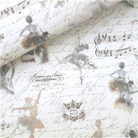 Papier italien motifs ballerine et partition de musique