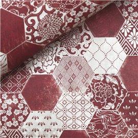 Papier italien motifs asiatiques bordeaux