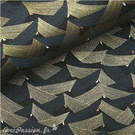 Papier japonais chiyogami géométrique gris or fond noir
